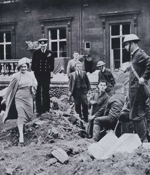 King George VI and Queen Elizabeth inspecting damage caused by a German bomb dropped on Buckingham Palace, London, World War II, September 1940 (b/w photo)