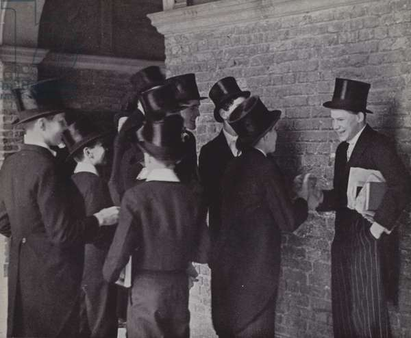 Eton boys, gossip (b/w photo)