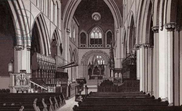 Llandaff Cathedral, Interior (litho)