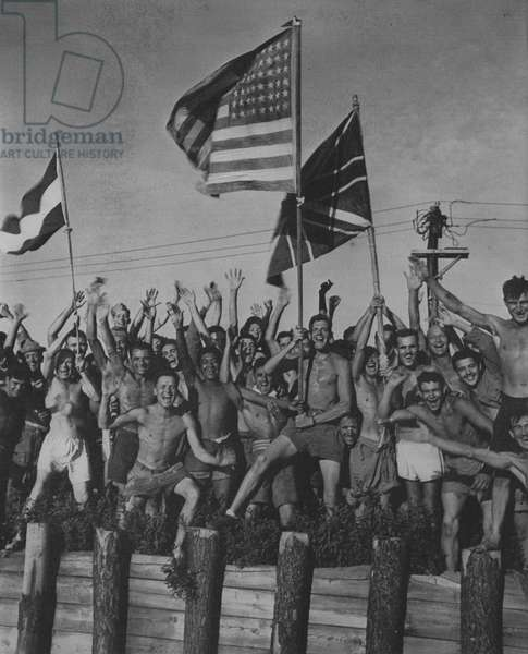 Allied Prisoners Cheer Victory, Aomori near Yokohama (b/w photo)