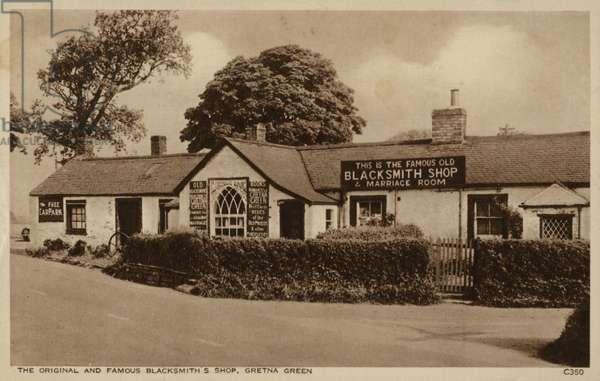 The Original and Famous Blacksmith's Shop, Gretna Green (b/w photo)