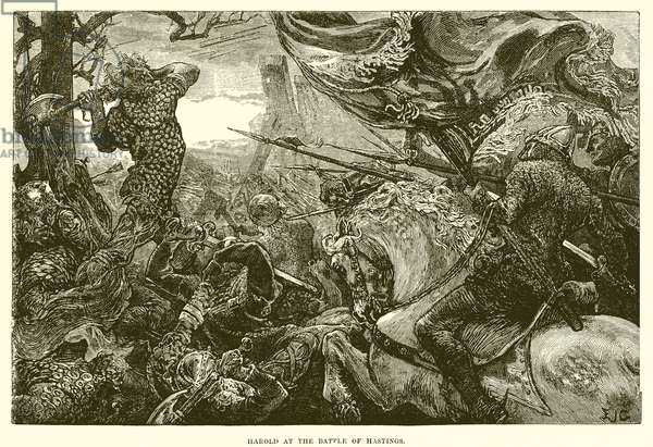 Harold at the battle of Hastings (engraving)