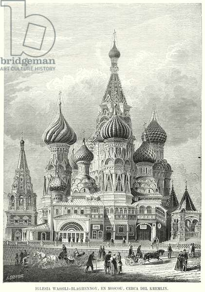 St Basil's Cathedral, Red Square, Moscow, Russia (litho)