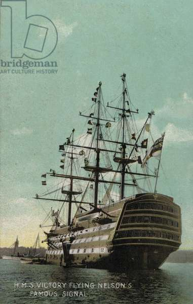 HMS Victory flying Nelson's famous signal (photo)