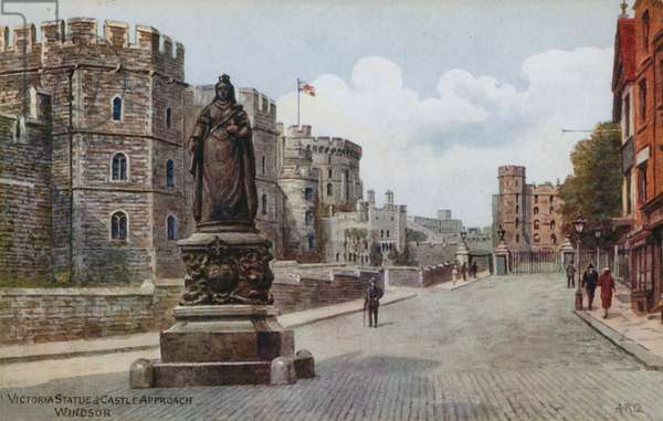 Victoria Statue and Castle Approach, Windsor (colour litho)