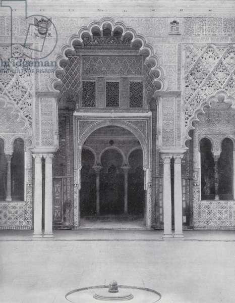 Entrance to the Bedchamber of the Moorish Kings, Alcazar, Seville (b/w photo)