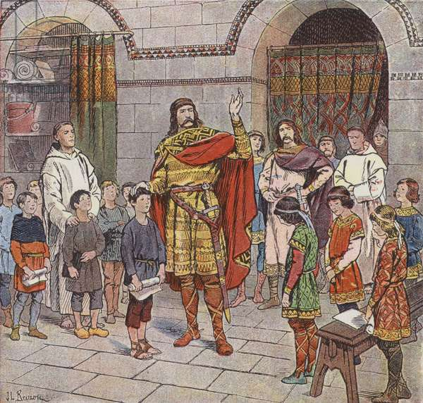 Charlemagne instructing pupils at his palace school (colour litho)