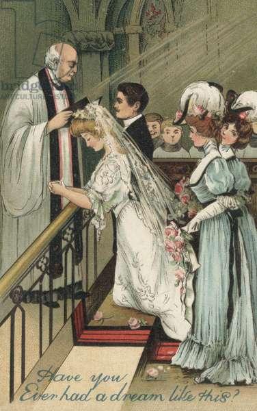 Bridesmaids at a wedding (colour litho)