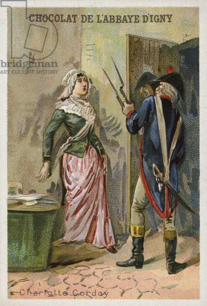 Charlotte Corday, assassin of French Revolutionary Jacobin leader Jean-Paul Marat (chromolitho)