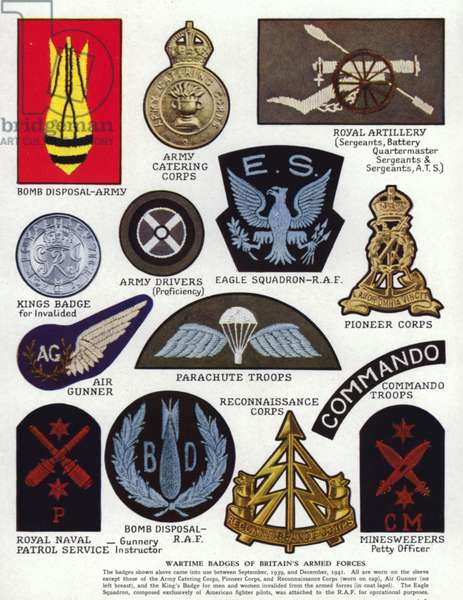 Wartime badges of Britain's armed forces, World War II, 1939-1945 (colour litho)