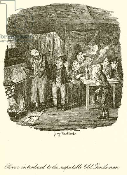 Oliver introduced to the Respectable Old Gentleman (engraving)