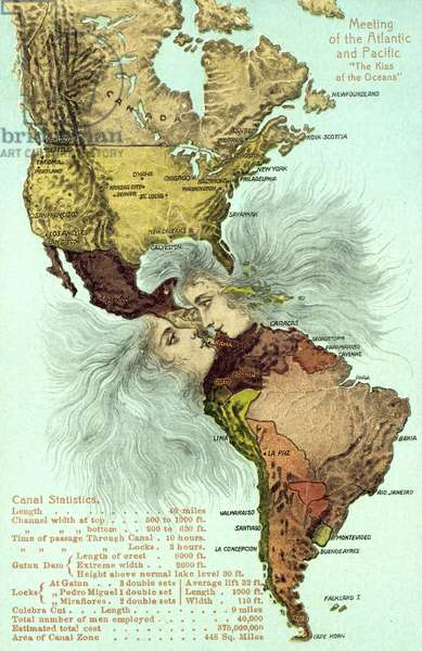 The Panama Canal, Pacific and Atlantic oceans kissing (colour litho)