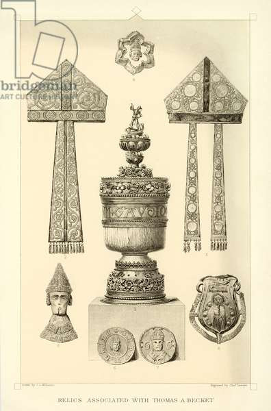 Relics associated with Thomas A Becket (engraving)