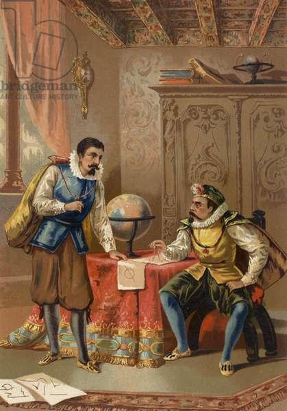 Johannes Kepler and Tycho Brahe at the Prague Observatory, c1600 (chromolitho)