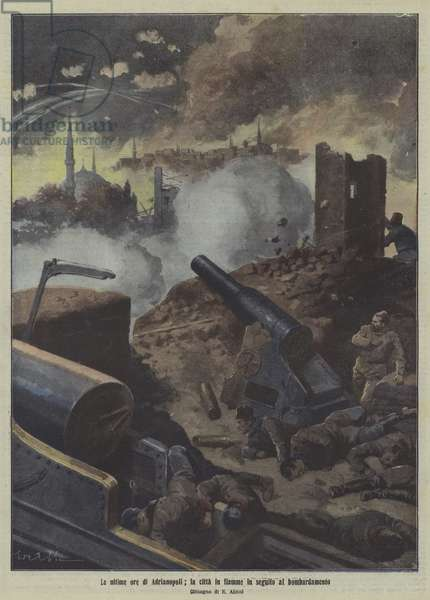 The city of Adrianople on fire after an artillery bombardment, First Balkan War (colour litho)