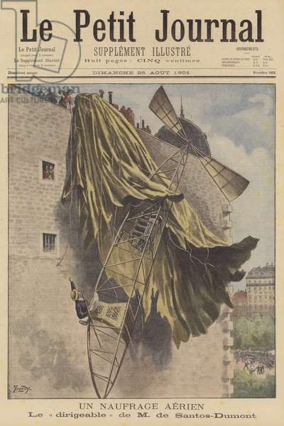 Crashed airship of Alberto Santos-Dumont in Paris (colour litho)