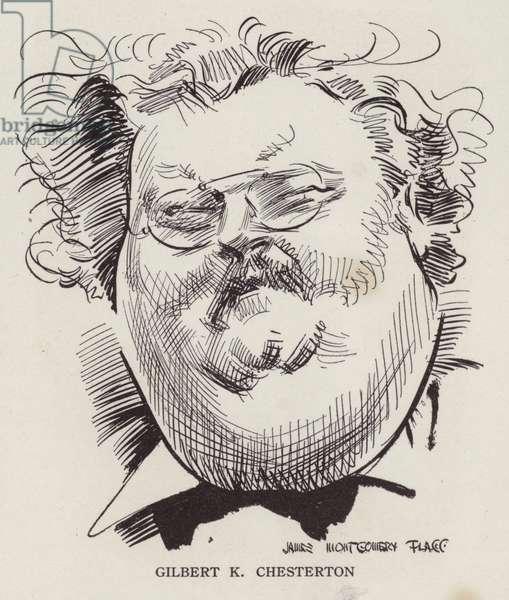G K Chesterton, English writer and poet (litho)