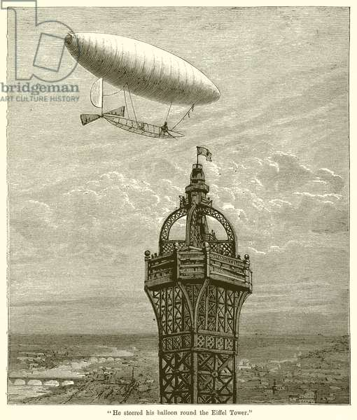 """He steered his Balloon Round the Eiffel Tower"" (engraving)"