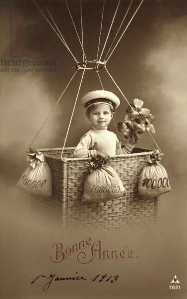 1913 New Year's card, featuring boy ascending a balloon, with a lot of money as ballast (b/w photo)