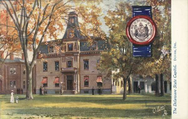 The Delaware State Capitol, Dover, Delaware (colour litho)