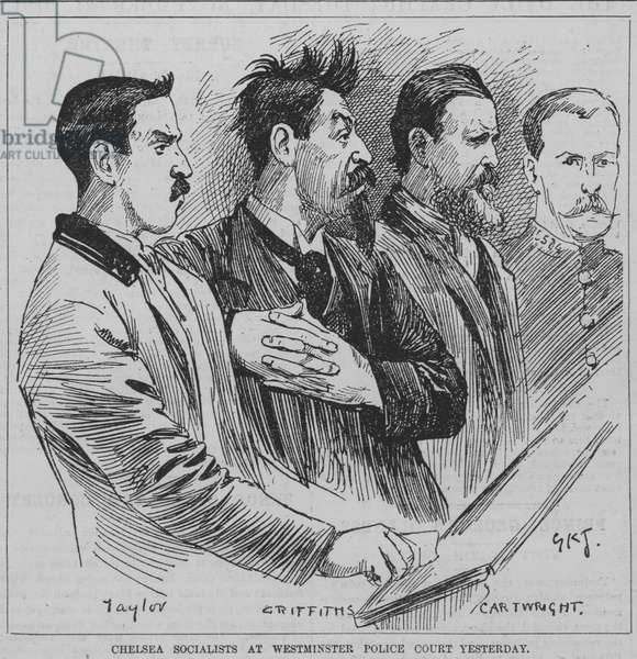 Socialists arrested for rioting in Chelsea appearing before Westminster Police Court, London, 1891 (engraving)