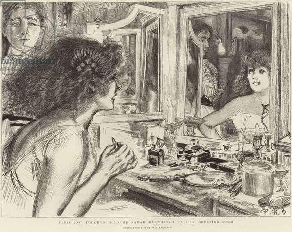 Madame Sarah Bernhardt in her dressing room (litho)