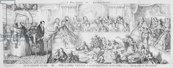 """Ladies trying a contemptible scoundrel for a """"Breach of Promise."""" (engraving)"""