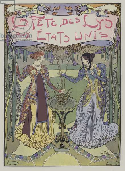 La Fete des Lys aux Etats-Unis (Festival of Lilies in the United States) (colour litho)