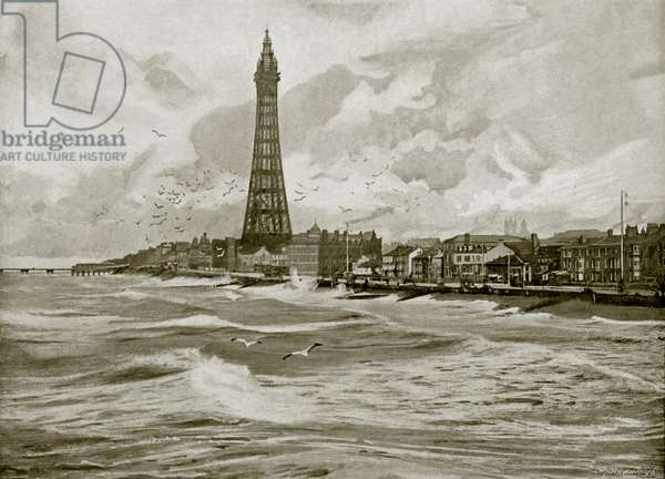Blackpool, with its Eiffel Tower (b/w photo)