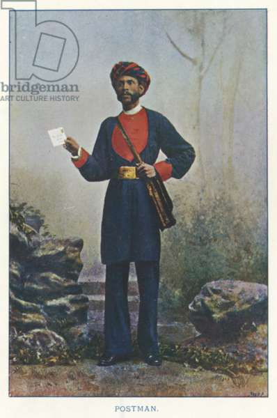 Indian Natives: Postman (coloured photo)