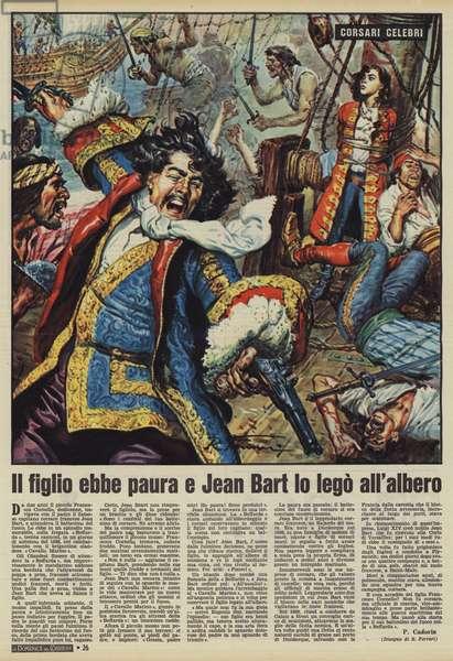 Il figlio ebbe paura e Jean Bart lo lego all'albero (colour litho)