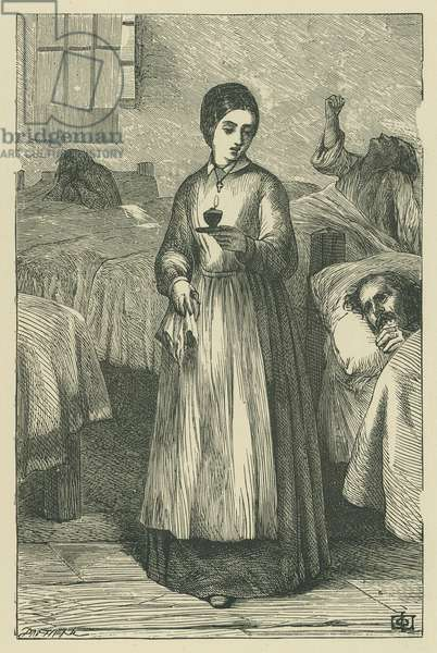 Florence Nightingale during the Crimean War (engraving)