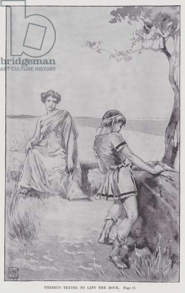 Theseus trying to lift the Rock (litho)