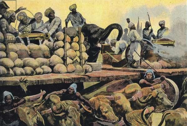 Nabob's Artillery, on Moving Platform, Fighting Clive (colour litho)