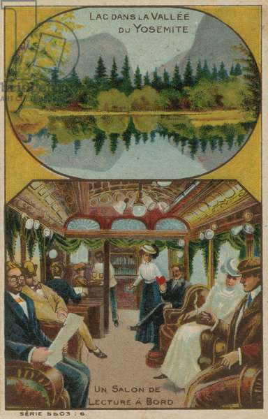 Lake in Yosemite Valley and a reading room on a ship (chromolitho)