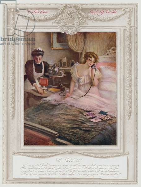 Belle Epoque Paris, Fashionable lady waking up (colour litho)