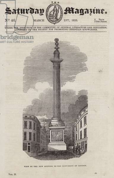 View of the new opening to The Monument of London (engraving)
