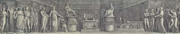 France invites Napoleon to sit on the imperial throne (engraving)