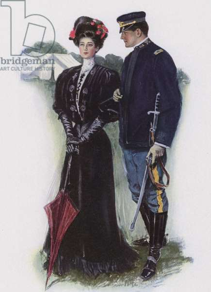 Lady and a soldier (colour litho)