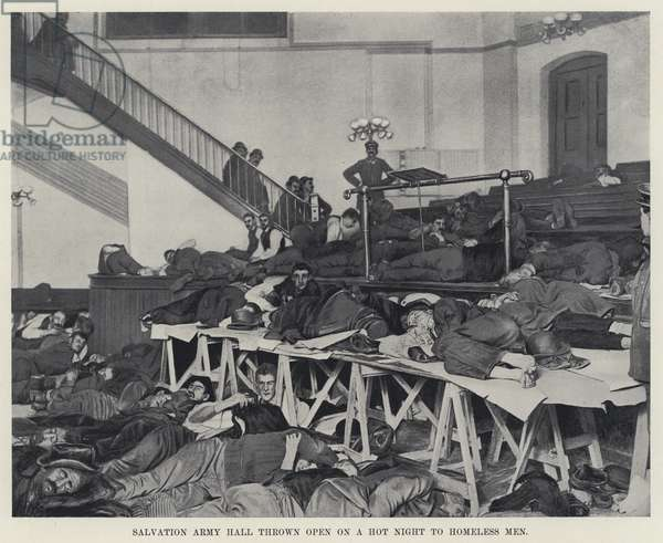 Salvation Army Hall thrown open on a Hot Night to Homeless Men (b/w photo)