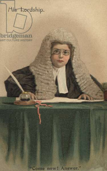 Child dressed as a judge (colour litho)