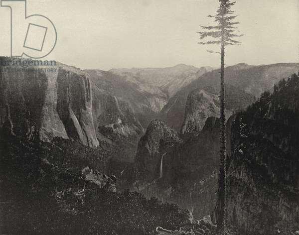 General View of Yosemite Valley, California (b/w photo)