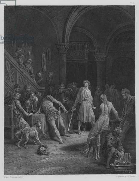 Geraint slays Earl Doorm (engraving)