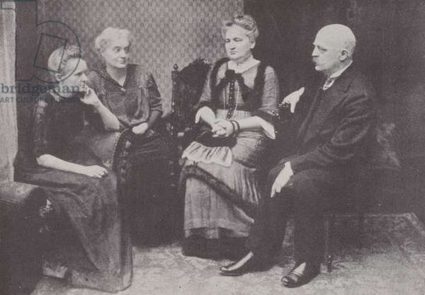 Marie Curie, left, with her two sisters, Madame Szalay and Madame Dluska, and her brother M Sklodovski (b/w photo)