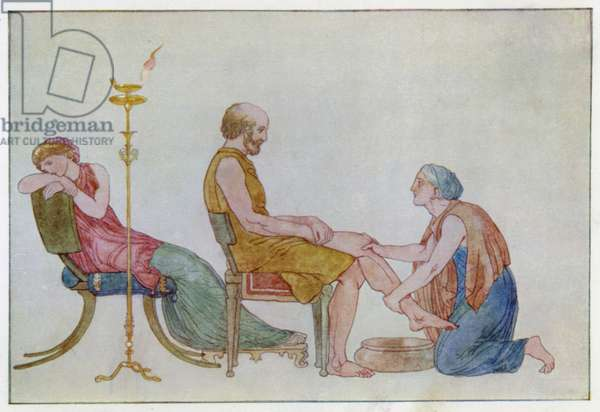 Ulysses discovered by the Nurse (colour litho)