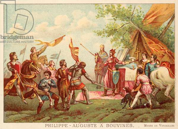 Philip Augustus of France at Bouvines, 1214 (chromolitho)