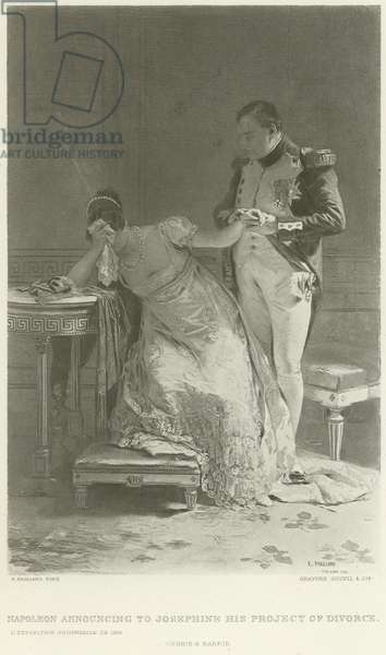Napoleon announcing to Josephine his project of divorce (gravure)