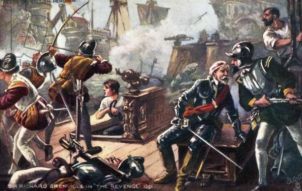 Sir Richard Grenville on the Revenge, Battle of Flores, Azores (colour litho)