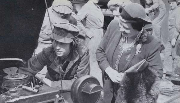 Queen Elizabeth II as a young woman in the Auxiliary Territorial Service with her mother Elizabeth, Queen Consort, 1945. (b/w photo)