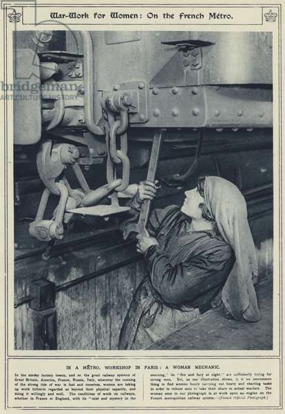 War-work for women, on the French metro, in a metro, workshop in Paris, a woman mechanic (b/w photo)
